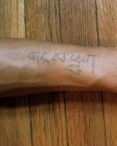 This first of the Homemade Tattoos says 'snowboy' in Tibetan U-chen (with